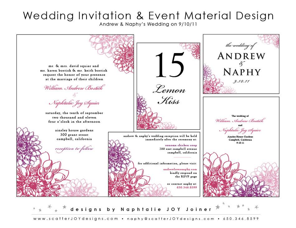 Scatter Joy Designs » Dahlia Wedding Invitations
