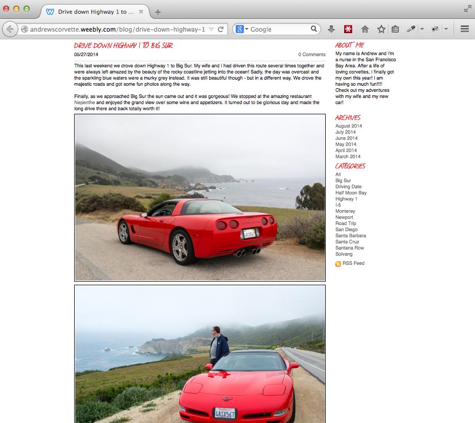 Andrew's Corvette Highway 1