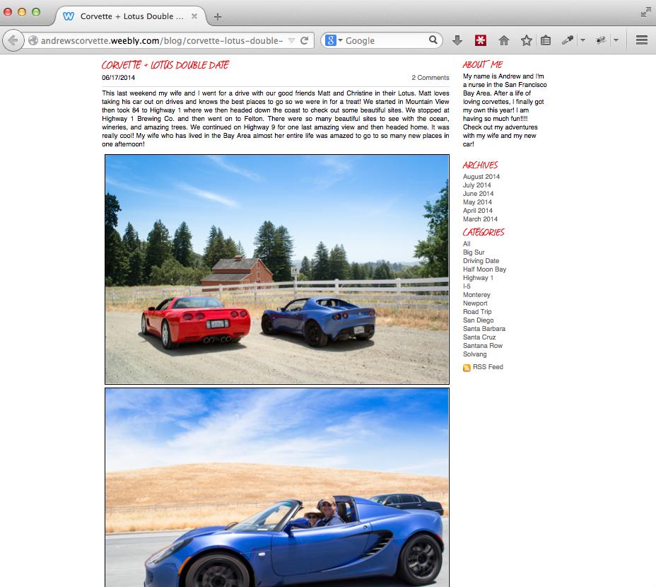 Andrew's Corvette Double Date